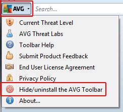 Uninstall AVG Toolbar